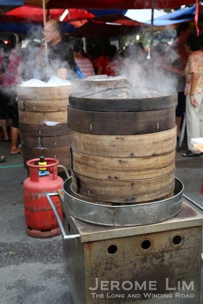 Bamboo pau (steamed buns) steamers.