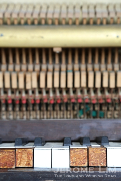 A old piano laid bare.