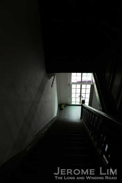 The view down the stairway.