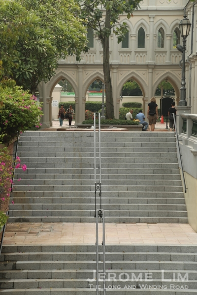 The out-of-character staircase from the sunken courtyard.
