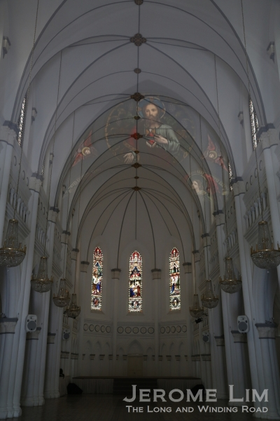 The beautiful interior of CHIJMES Hall with its stained glass.