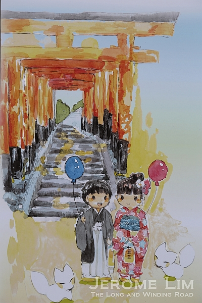 A poster depicting the practice in which children visit the shrine in the year they turn 3, 5 and 7.