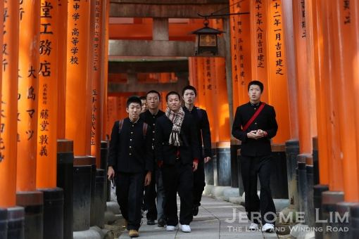 The shrine is popular with many in Kyoto. Many businessmen and students visit it before heading to the office or to school.