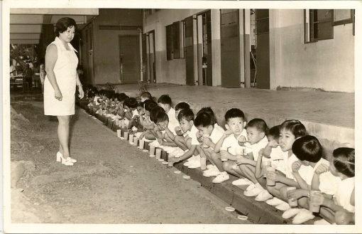 The six years spent in SMS were one which provided me with many fond memories. Oneis how we used to squat by the drains to brush our teeth after recess (photograph posted by Edward Lam on the SMSAA Facebook Group).