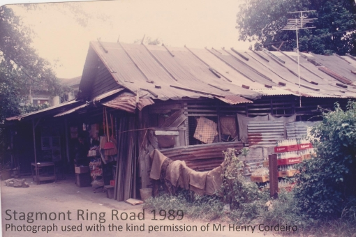 A provision shop on the side of the road opposite the hut in 1989  (photograph used with the kind permission of Henry Corderio).