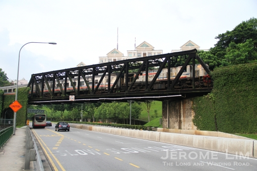 A train running across the bridge seen just before the closure of the railway in 2011.