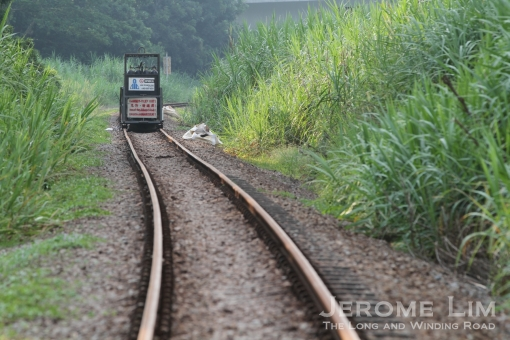 A trolley loaded with gas tanks - used for the cutting of the tracks in August 2011.