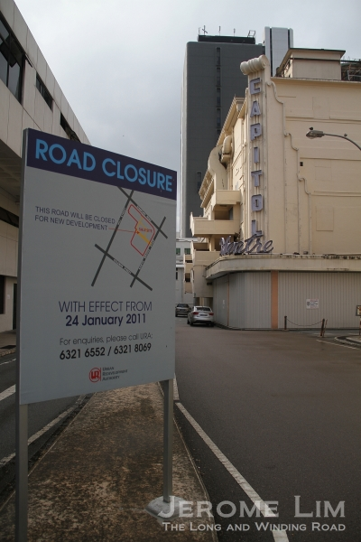 A notice of the closure of the road leading to the car park prior to work starting on the Capitol project.