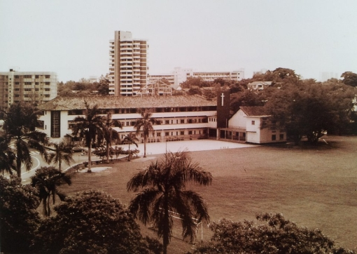 A view of the school's campus in the late 1970s.