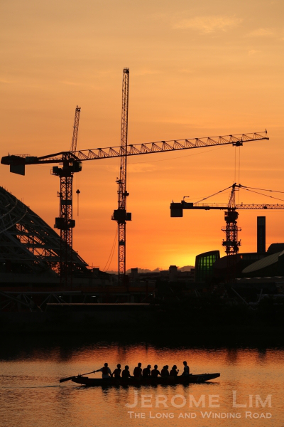 The sun rises on the new. The new National Stadium and the Sports Hub takes shape - seen in April 2013. The Sports Hub is scheduled to be completed in April 2014.
