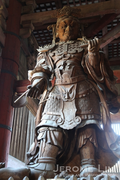 Koumokuten, one of two heavenly guards from the Edo period found in the hall.