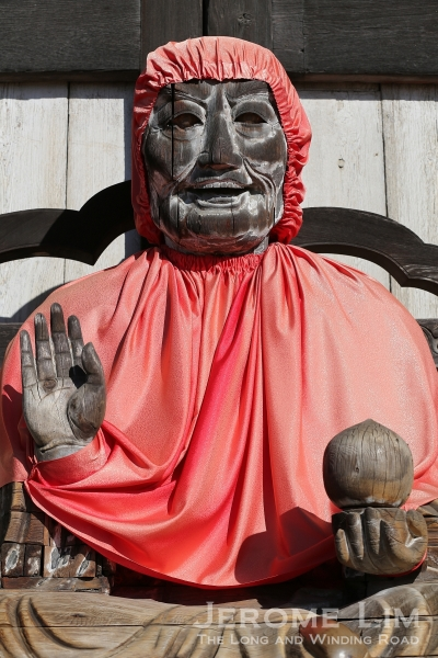 A wooden statue of Pindola Bharadvaja or Binzuru, a disciple of Buddha. The belief in Japan is that anyone ill rubbing the part  of an image of Binzuru corresponding to the part of the body where the ailment is and rubbing the same part on their own body after, will be cured.