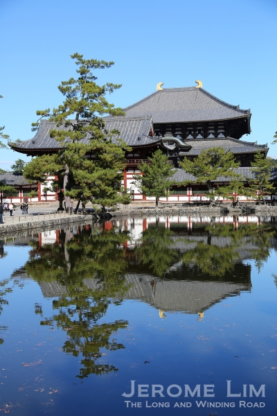 The Great Buddha Hall, Daibutsuden seen from across the Kagami-ike pond.