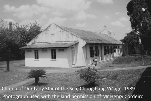 The back of the church building (photo used with the kind permission of Mr Henry Cordeiro). The church was blessed on 13 December 1953.