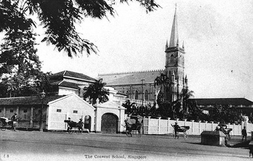 A postcard showing the convent and its walls in the early 1900s.