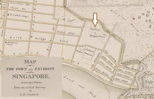 """An extract of Tassin's map of 1836 showing the location of the """"Tombs of the Malayan Princes""""."""