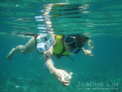 Valyn snorkelling.