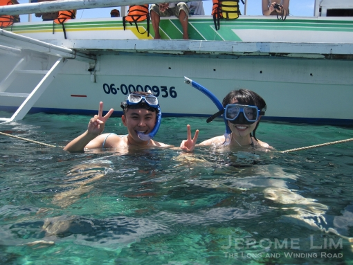 William and Melissa with snorkels.