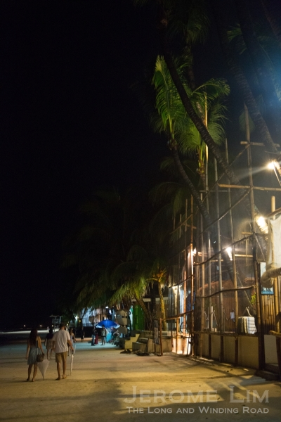 White Beach at Boat Station 1 by night.