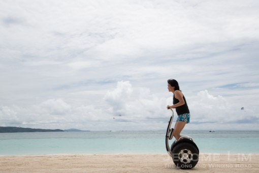 On the segway on the beach at Fairways and Bluewater Resort.