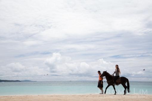 Atsuko horsing around at Fairways and Bluewater.