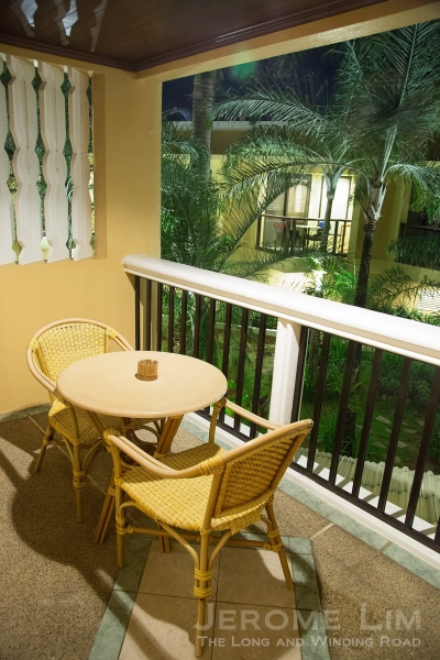 The balcony of the Deluxe Room.