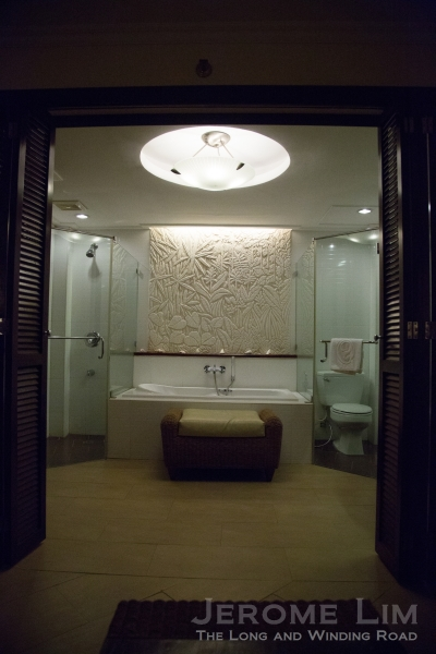 The separate bath area.