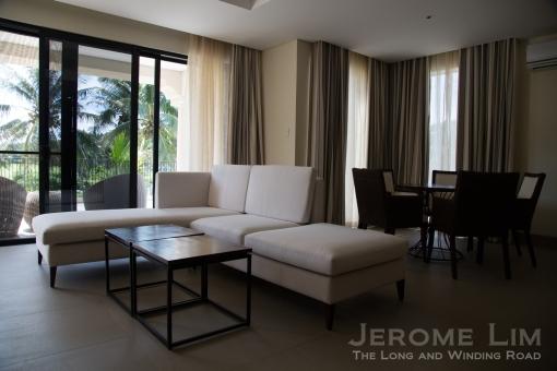 A lounge area inside a suite.