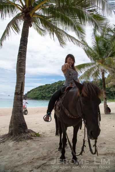 Atsuko horsing around.