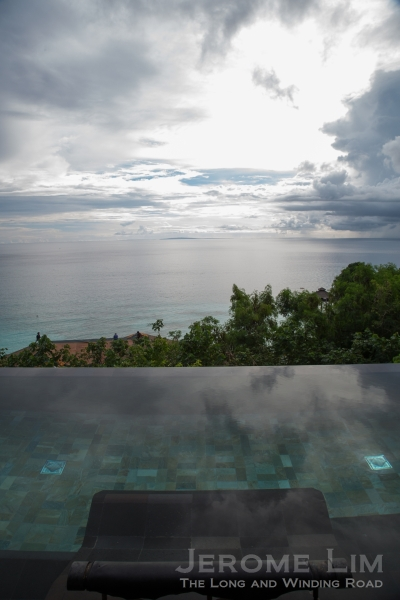 The infinity edge of the pool and the view beyond it.