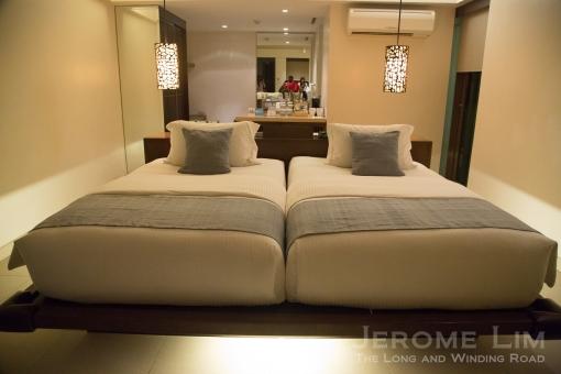 A bedroom inside a suite.
