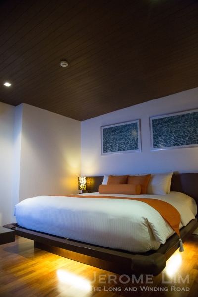 A bedroom in a loft suite.