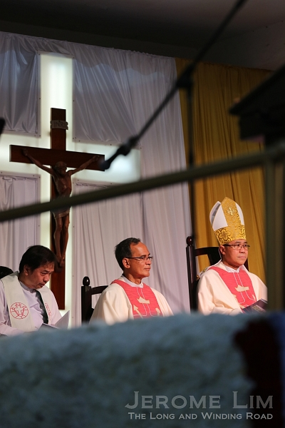 L-R: Fr. Simon Tan, Rector of St. Alphonsus; Fr. Patrick Massang, Vice-Provincial of Singapore and Malaysia; and Archbishop William Goh.