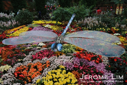 A dragonfly lantern in the Flower Field of the Flower Dome.