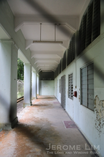 The corridor outside the chapel.