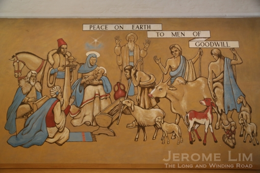 The Nativity was the first mural painted. On a copy painted on a wallboard in 1963, Warren painted an albatross in place of the horse's head.