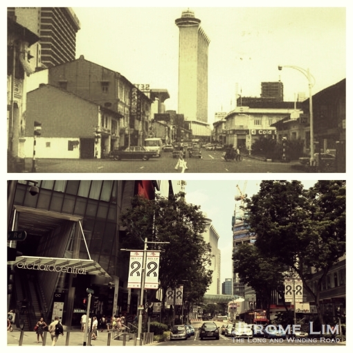 The junction of Orchard Road and Killiney Road some 4 decades apart, as seen in 1975 and today (source of 1975 photograph: Ray Tyers' Singapore Then & Now).