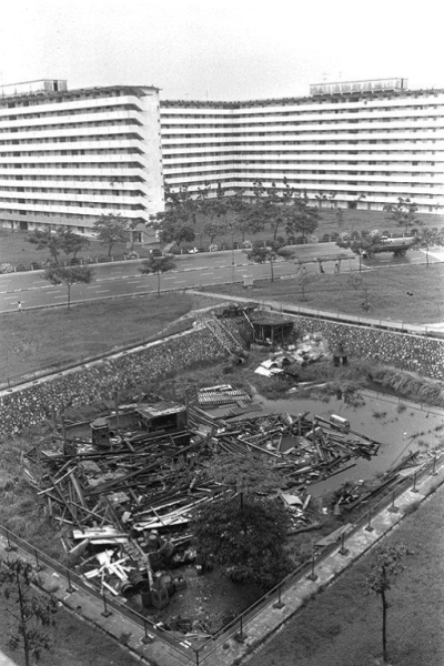 The hole in the ground after the temple was demolished in 1977 (Source: online catalogue of the National Archives of Singapore http://a2o.nas.sg/picas/)