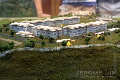 A model of the barrack buildings around the square as seen on a sand model in the Selarang Camp Heritage Centre.
