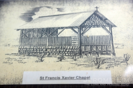A sketch of the makeshift St. Francis Xavier Chapel.
