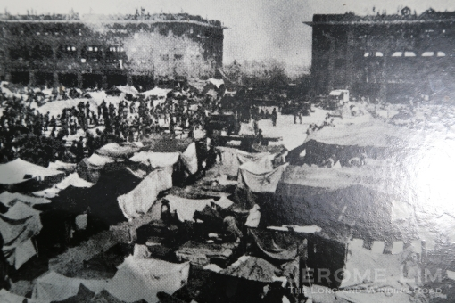 The barrack square during the incident (photograph taken off an information board at the parade square).