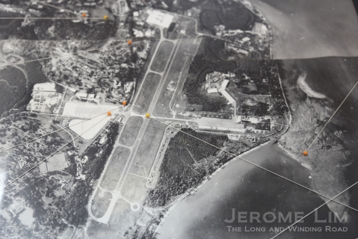 An aerial view of the Changi Airfield, the construction of which was initiated by the Japanese in 1943. The coastal end of the east-west intersecting strip was where the Beting Kusah area and Kampong Beting Kusah was located. The kampong was cleared in 1948 to allow an RAF expansion of the airstrip.