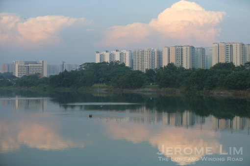 Punggol Estate looming in the background on the left bank of Sungei Sernagoon.