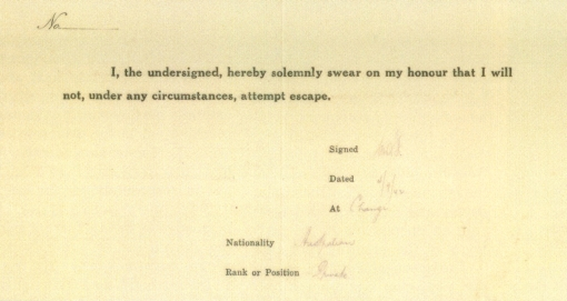 The Non-Escape Statement (Selarang Camp Repository).