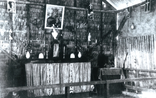 Another photograph of the Chapel of St. Francis Xavier from the Selarang Camp Repository.