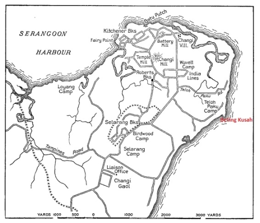 Map of the Changi area in 1942, showing the location of British army barracks before the airfield was constructed.