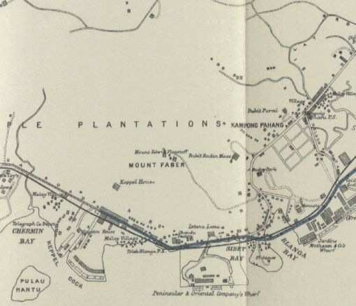 Detail of a 1907 map of Singapore showing Kampong Pahang at Bukit Purmei / Bukit Kasita.