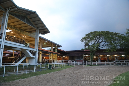 The indoor arena and the stables of the Singapore Polo Club.