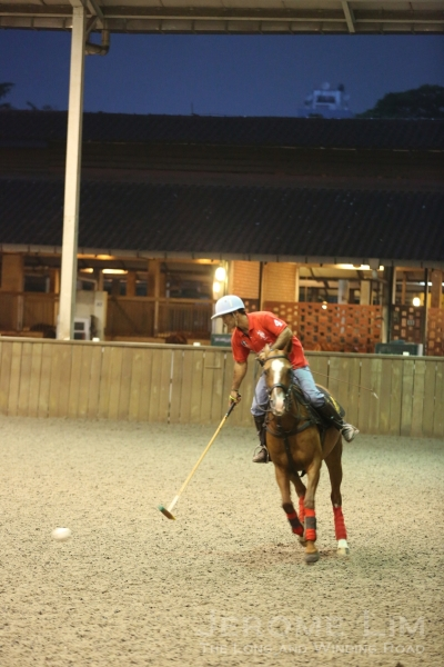 Polo in the Singapore Polo Club's Indoor Arena.