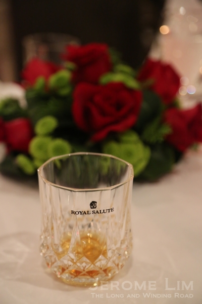 A glass of the 21 year old - the minimum age of a Royal Salute whisky.